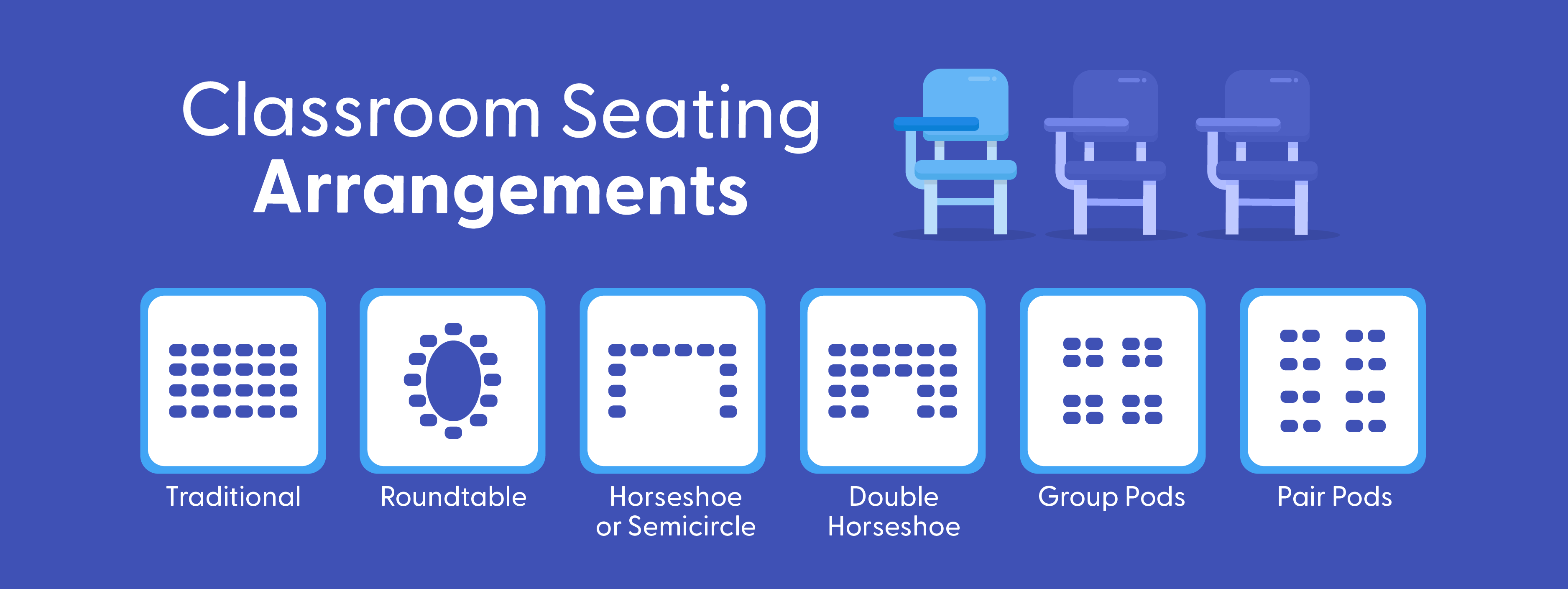 Image of different seating arrangement styles